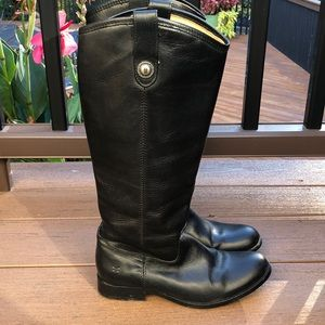 Frye Knee high Melissa Riding Black Boots Size 7 B